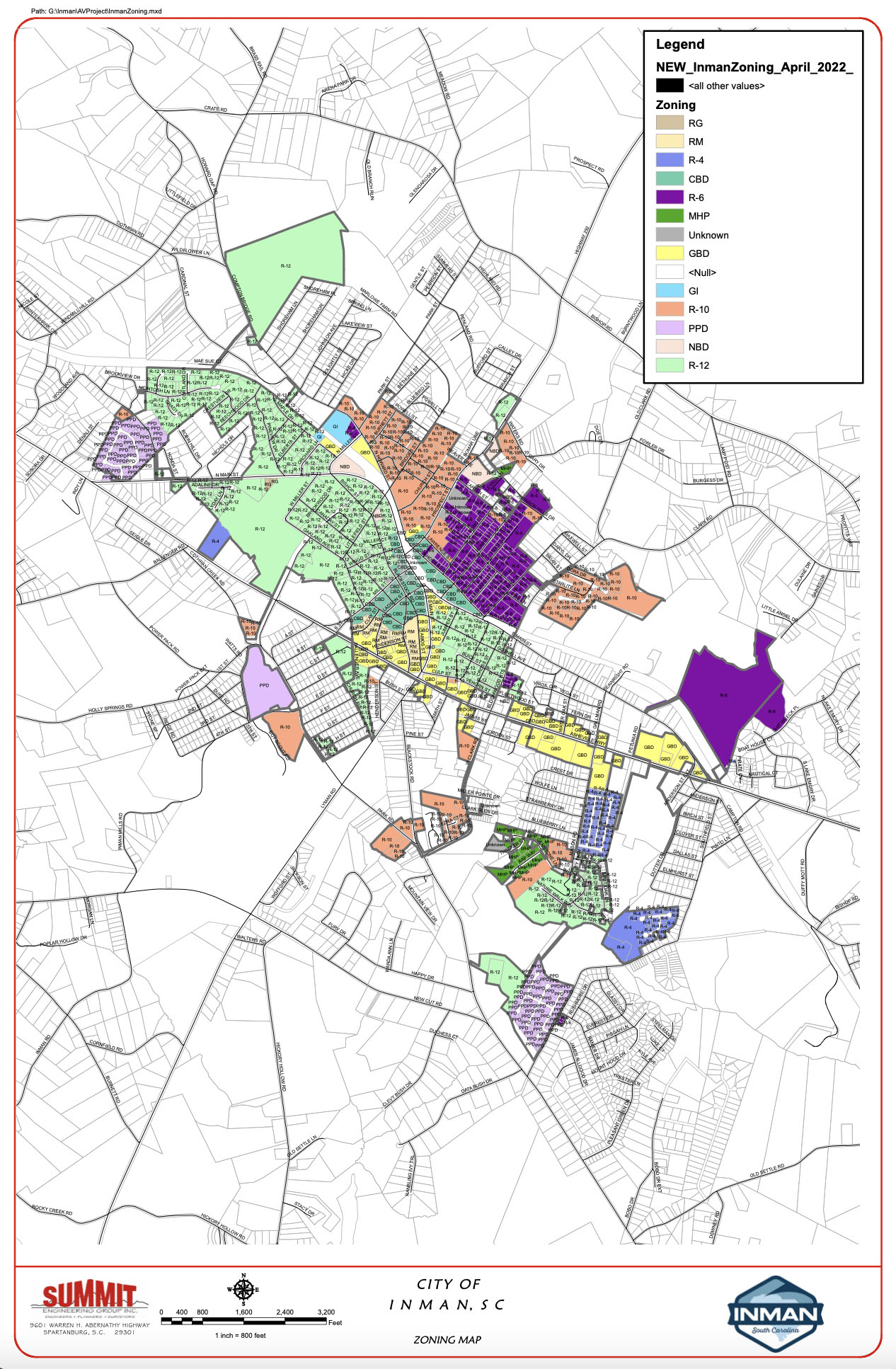 City of Inman Zoning Map